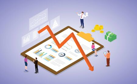 business and market crisis depression with people team work on some analysis report document with isometric modern flat style vector