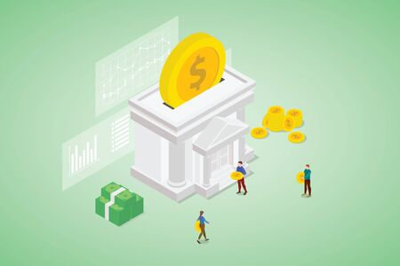 people savings money on bank with some graph and chart data with modern isometric style vector