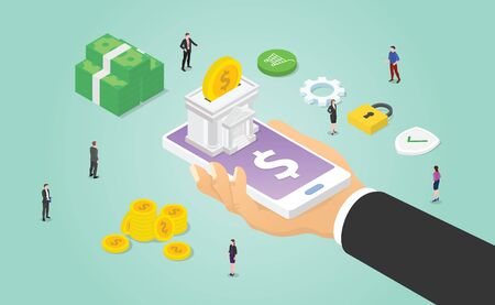 mobile banking concept with smartphone and hand hold apps with some cash money stack and people with modern isometric style vector