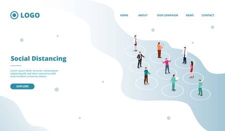 social distancing concept for people safe distance in crowd for website template or landing homepage site vector