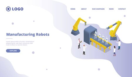 mass and massive robot production development research for website template or landing homepage site vector
