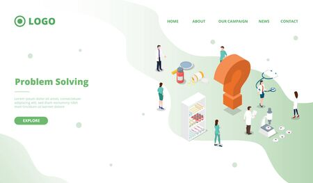 science research to solve problems health care for website template or landing homepage site vector