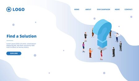 find a solution to solve business problem concept for website template or landing homepage site vector 向量圖像