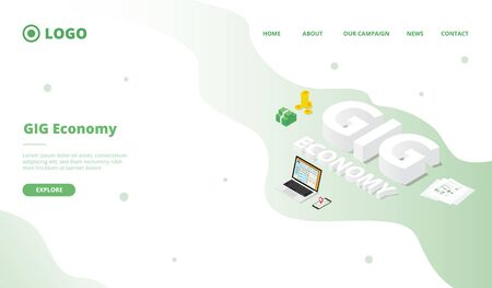 GIG Economy campaign concept for website template landing or home page website.modern flat cartoon style vector illustration