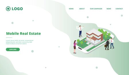 Potential consumers search property on internet promoted by marketing modern flat cartoon style vector illustration