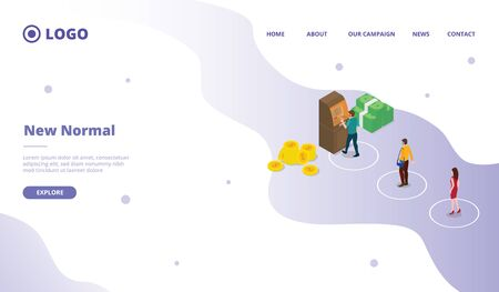 New normal for campaign web website home homepage landing page template with modern flat cartoon style vector design illustration