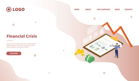Financial crisis for campaign web website home homepage landing page template with modern flat cartoon style vector design illustration