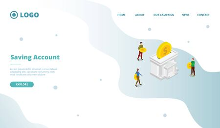 Saving account for campaign web website home homepage landing page template with modern flat cartoon style vector design illustration 向量圖像