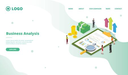 Business analysis for campaign web website home homepage landing page template with modern flat cartoon style vector design illustration 向量圖像