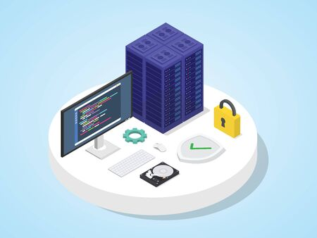 Server defended by shield with padlock. Server security concept isometric 3d design modern flat style vector illustration