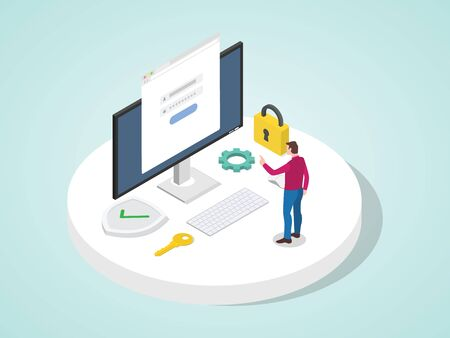 Man access application log in with password on computer protect personal information system. account personal security concept modern flat cartoon style vector design illustration.