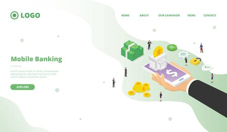 Mobile banking campaign for web website home homepage landing page template banner isometric 3d design modern flat style vector. 向量圖像