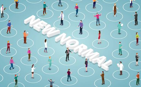 Public awareness while maintaining physical distance in new normal after corona virus pandemic flat style vector design