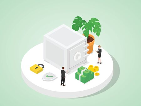 Bank employees store customer money in vault good security whit isometric design flat style vector illustration 向量圖像