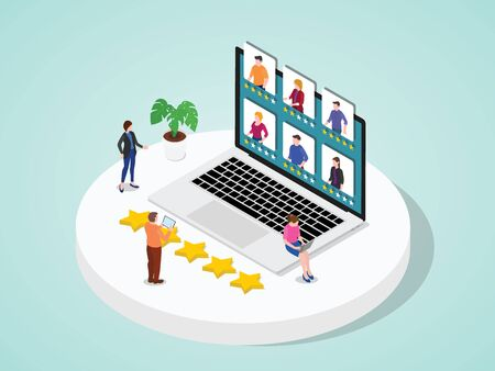 People review online by giving star using tablet laptop device flat cartoon style vector design 向量圖像
