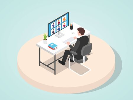 Manager lead meeting work presentation his staff through video conference flat cartoon style vector illustration