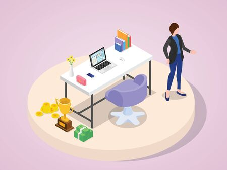 Professional businesswoman successful characters professional success wearing suit standing at work laptop bag smartphone book flower vase on the table money coin trophy with isometric 3d flat cartoon style vector design 向量圖像