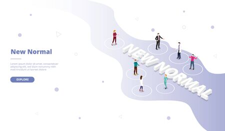 New normal campaign for web website template page landing home homepage with isometric flat style vector design
