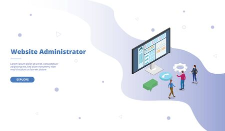 website admin or administrator campaign for web website template page landing home homepage with isometric flat style vector design