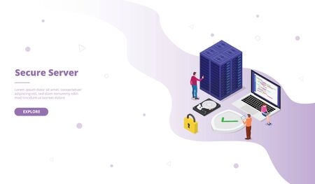 secure server campaign for web website template page landing home homepage with isometric flat style vector design 向量圖像