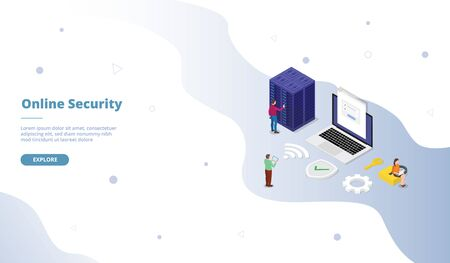 online account personal security campaign for web website template page landing home homepage with isometric flat style vector design