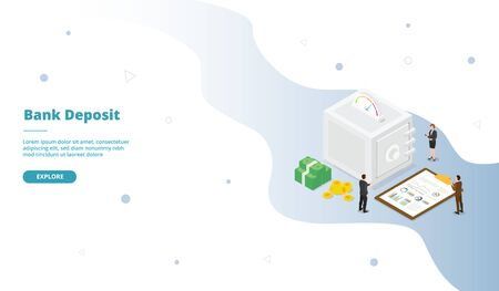 Bank vault deposit safe campaign for web website template page landing home homepage with isometric flat style vector design 向量圖像