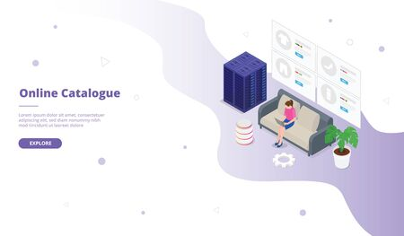 Online catalogue or catalog campaign for web website template page landing home homepage with isometric flat style vector design