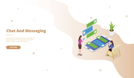 Chat and Messaging campaign for web website template page landing home homepage with isometric flat style vector design
