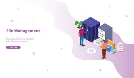 File Management campaign for web website template page landing home homepage with isometric flat style vector design