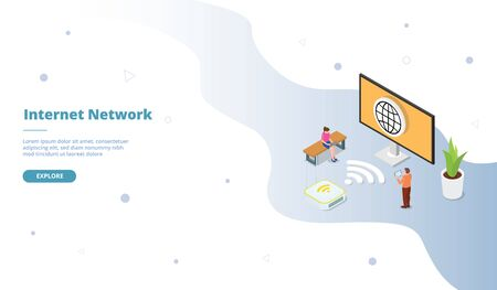 Internet network campaign for web website template page landing home homepage with isometric flat style vector design 向量圖像