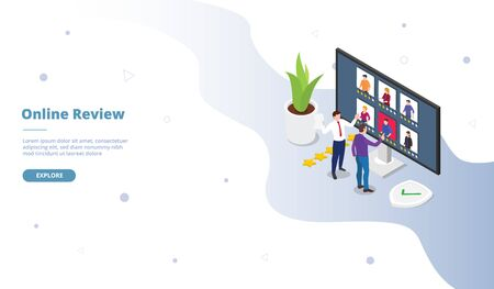 Online review campaign for web website template page landing home homepage with isometric flat style vector design