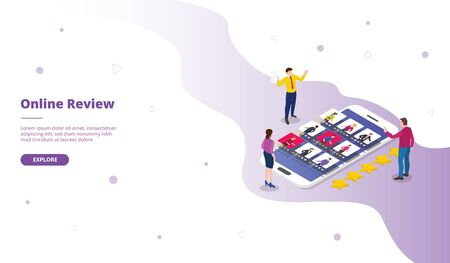 Mobile phone review campaign for web website template page landing home homepage with isometric flat style vector design