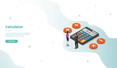 Calculator campaign for web website template page landing home homepage with isometric flat style vector design