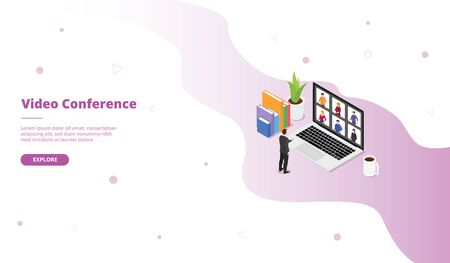 Video conference campaign with man standing on front of team for web website template landing home homepage page with isometric 3d modern flat cartoon style vector design 向量圖像