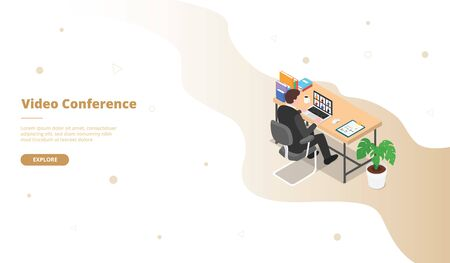 Video conference campaign with man work on sit on the desk table for web website template landing home homepage page with isometric 3d modern flat cartoon style vector design