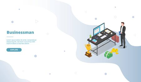 Businessman with workspace and desk table campaign for web website template landing home homepage page with isometric 3d modern flat cartoon style vector design