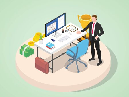 professional businessman characters with work tools and desk table with calendar project task with modern flat isometric style - vector