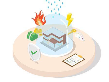 Property insurance guarantee financial protection customer from material losses by fire disaster agreement in policy with isometric 3d flat cartoon style vector design