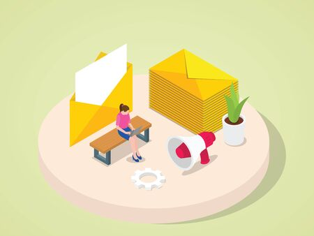 Women working on laptop sent mail to customer client colleague partnership invitation announcement with isometric 3d flat cartoon style vector design Foto de archivo - 150259432
