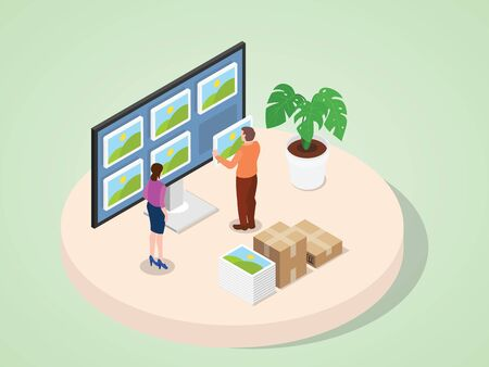 Men and women work together update portfolio on computer monitor with isometric 3d flat style vector design 向量圖像