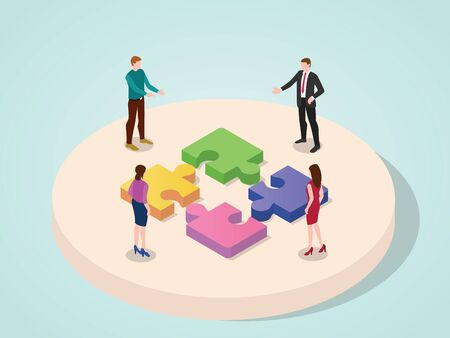 Office people team working together collaboration connection puzzle element concept of business with isometric 3d modern flat cartoon style vector