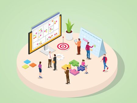 Company business people legal marketing finance accounting and other department work together in team project management concept with isometric isometry 3d flat cartoon style vector design.