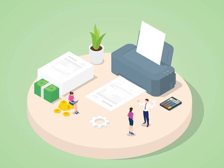 Business people use machine printing invoices purchase payment purchase transaction accounting document with isometric 3d flat cartoon style vector design.