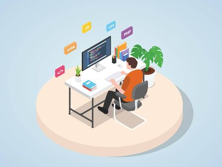 Man working on laptop programming coding website web mobile landing page template banner with isometric 3d flat style Vector illustration 向量圖像