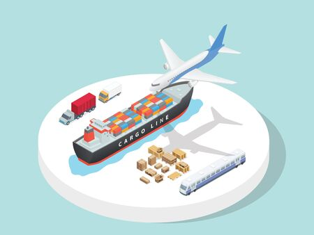 Transportation service third party logistics airplane ship truck train with isometric 3d flat cartoon style vector design