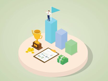 Character of successful employee career growth highest award earn money trophy with isometric 3d flat cartoon style vector design