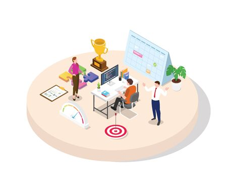 Employees work professional focus on target high motivation add knowledge skill experience will get promotion of career development with isometric isometry 3d flat cartoon style vector design