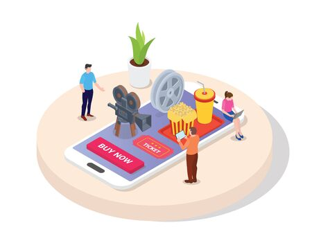 Concept booking movie ticket. men women buy movie ticket online through application on mobile phone tablet laptop devices with isometric 3d flat cartoon style vector design.