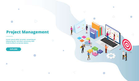 Project Management business people work agile according to field achieve goal campaign for web website home homepage landing template banner with isometry isometric 3d cartoon flat style vector design.