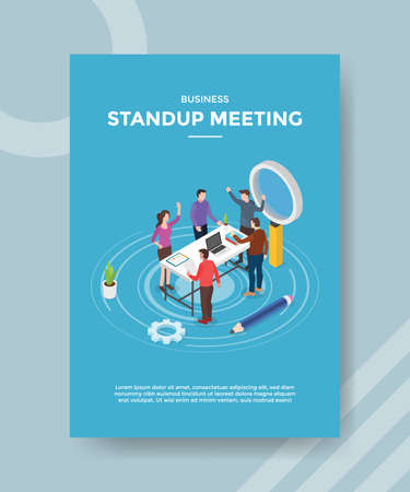 stand up meeting people teamwork discussion on workspace for template of banner and flyer for printing magazine cover and poster